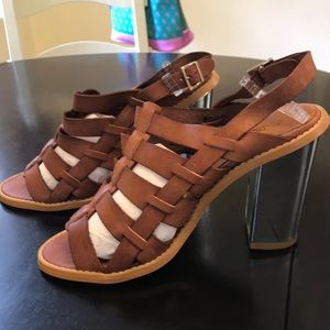 NEW Sixty Seven 7.5 or 8 brown leather heels
